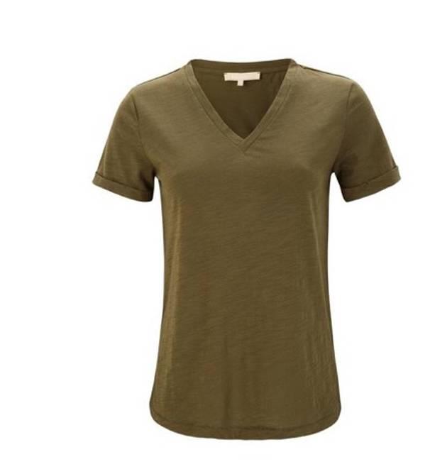 Bilde av Lily v-neck t-shirt army green